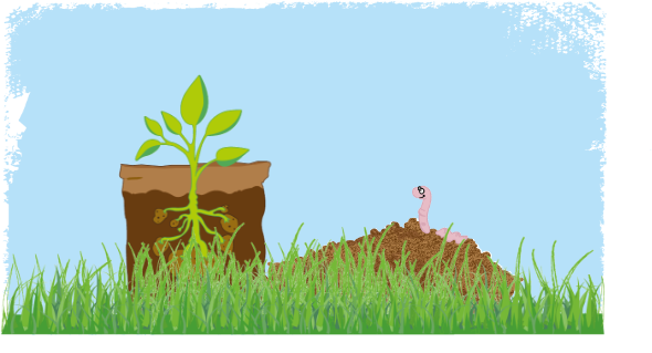 Illustration of a potato plant sprouting in a bag with a smiling worm on a dirt mound looking at it.